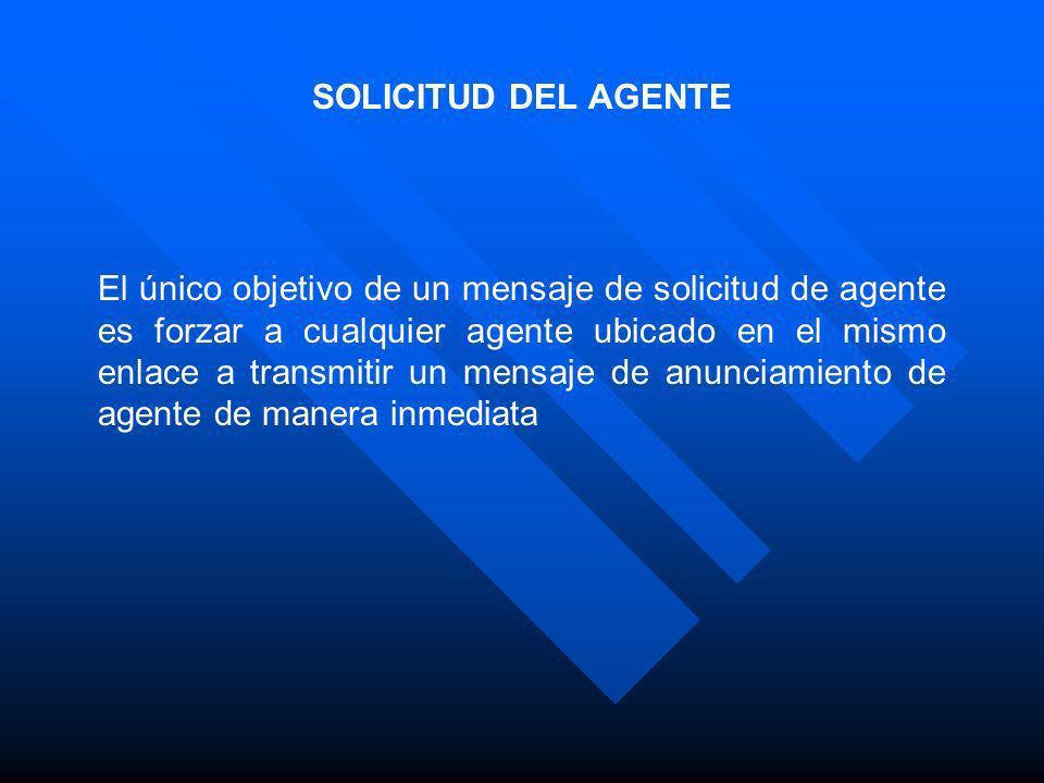 SOLICITUD DEL AGENTE El único objetivo de un mensaje de solicitud de agente es forzar a cualquier agente ubicado en el mismo enlace a transmitir un me
