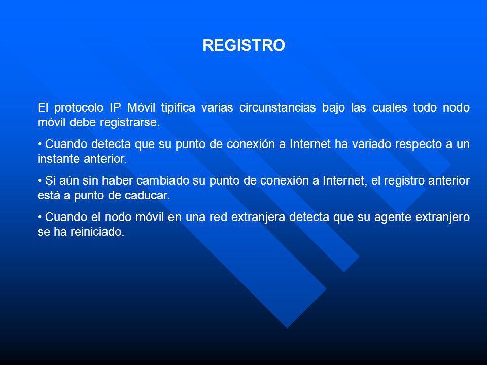 REGISTRO El protocolo IP Móvil tipifica varias circunstancias bajo las cuales todo nodo móvil debe registrarse. Cuando detecta que su punto de conexió