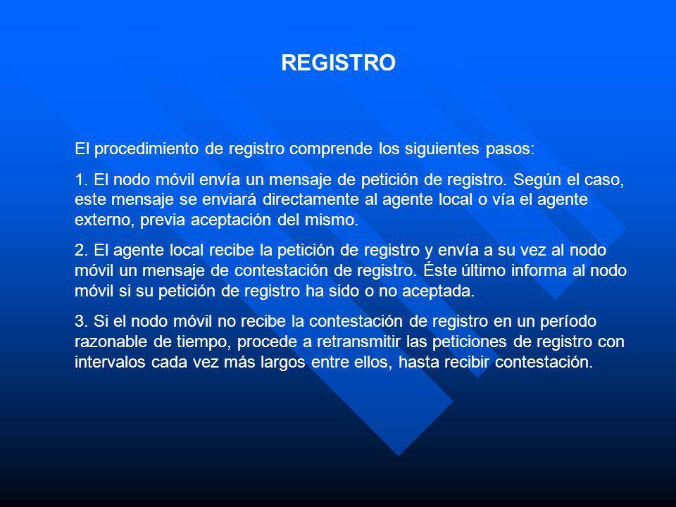 REGISTRO El procedimiento de registro comprende los siguientes pasos: 1. El nodo móvil envía un mensaje de petición de registro. Según el caso, este m