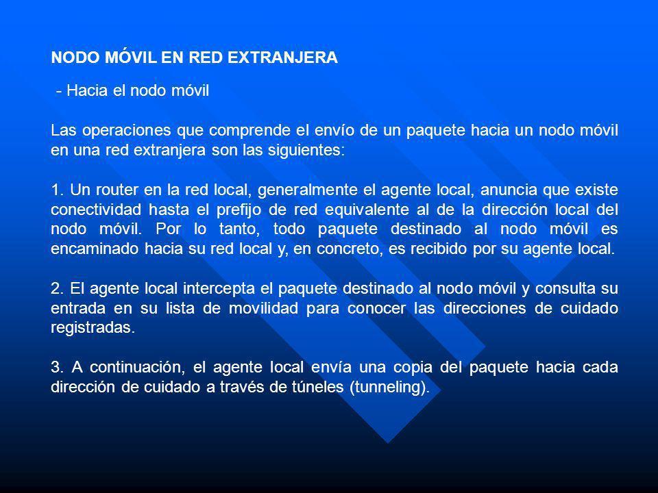 NODO MÓVIL EN RED EXTRANJERA - Hacia el nodo móvil Las operaciones que comprende el envío de un paquete hacia un nodo móvil en una red extranjera son