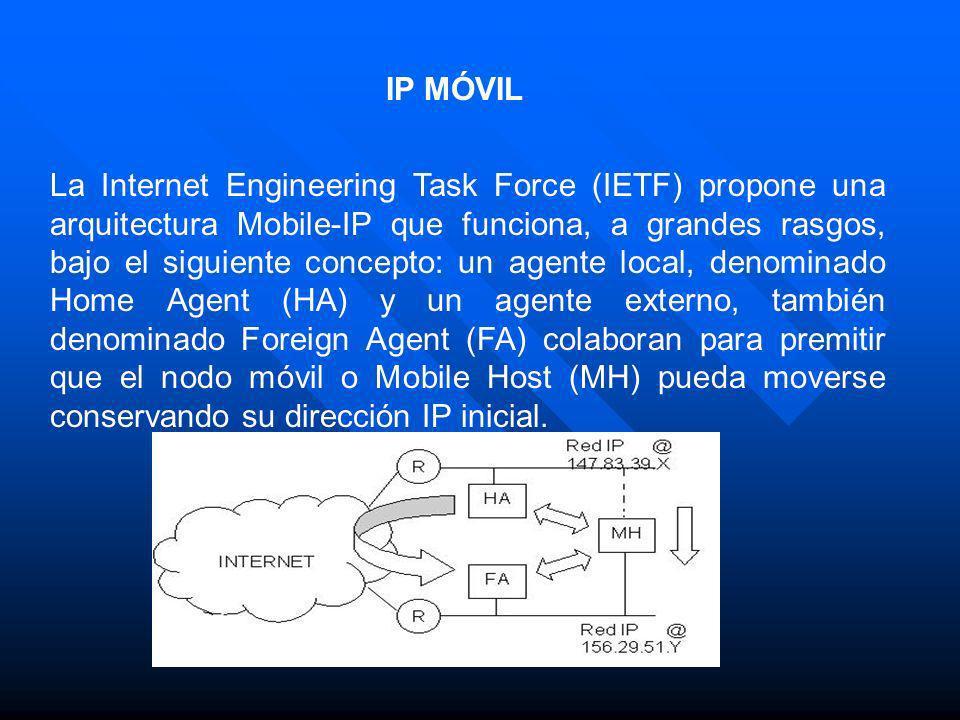 La Internet Engineering Task Force (IETF) propone una arquitectura Mobile-IP que funciona, a grandes rasgos, bajo el siguiente concepto: un agente loc