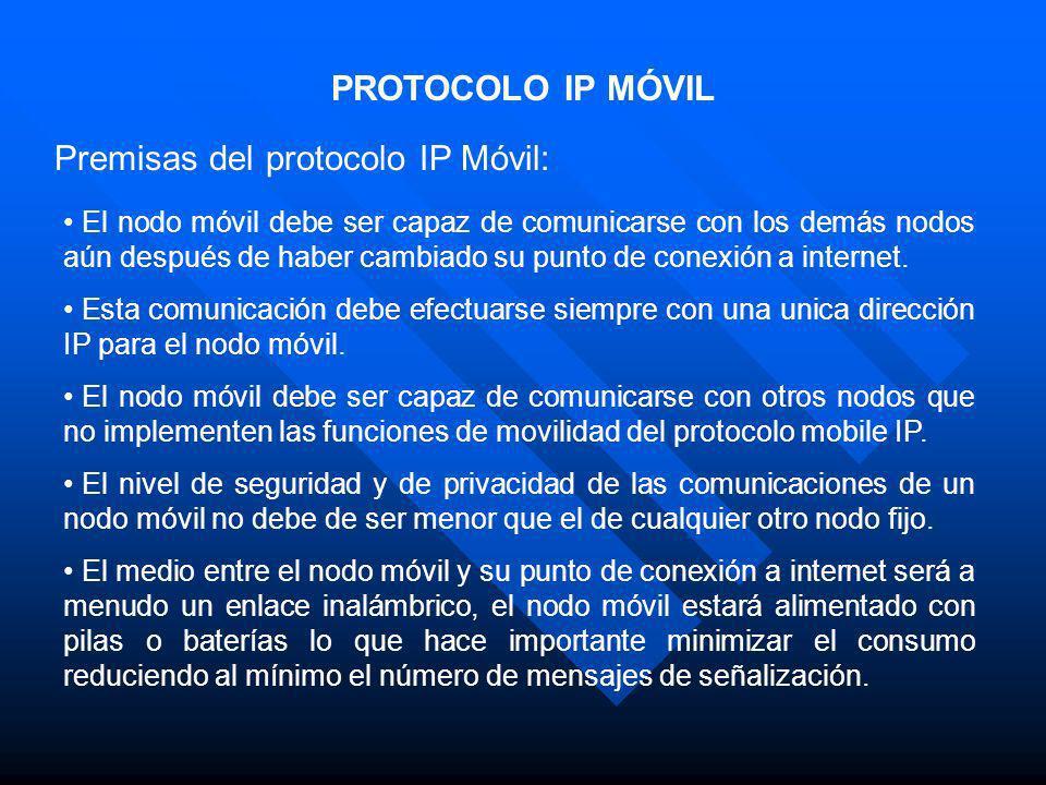 PROTOCOLO IP MÓVIL Premisas del protocolo IP Móvil: El nodo móvil debe ser capaz de comunicarse con los demás nodos aún después de haber cambiado su p