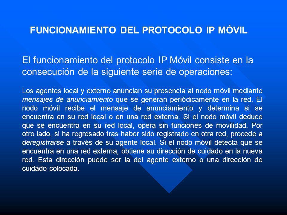 FUNCIONAMIENTO DEL PROTOCOLO IP MÓVIL El funcionamiento del protocolo IP Móvil consiste en la consecución de la siguiente serie de operaciones: Los ag
