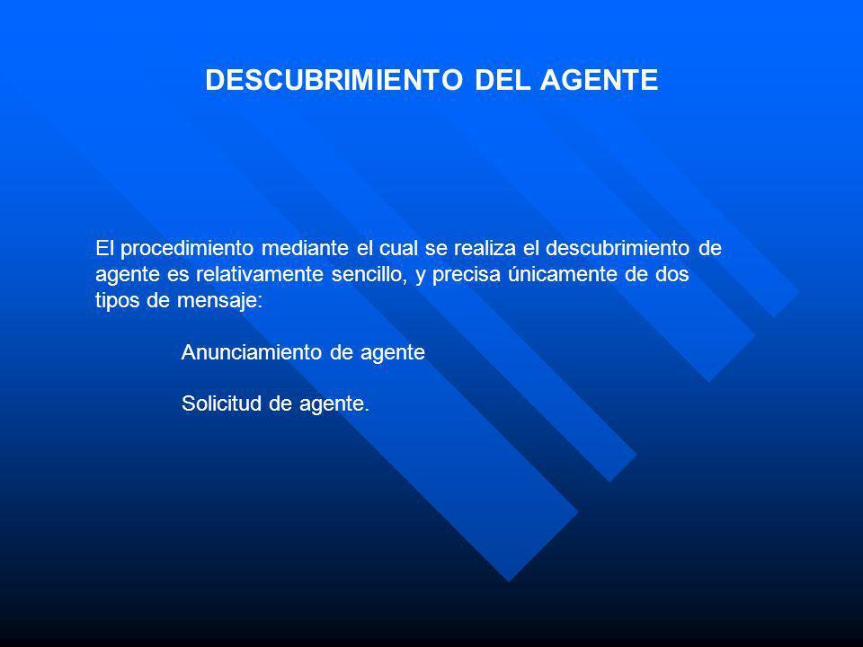 DESCUBRIMIENTO DEL AGENTE El procedimiento mediante el cual se realiza el descubrimiento de agente es relativamente sencillo, y precisa únicamente de