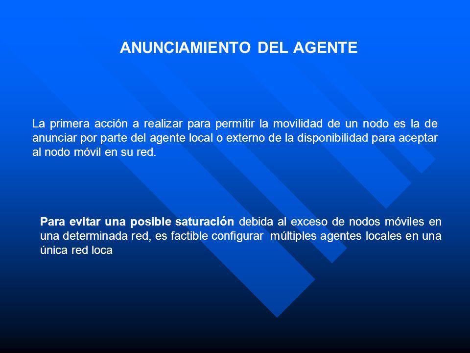 ANUNCIAMIENTO DEL AGENTE La primera acción a realizar para permitir la movilidad de un nodo es la de anunciar por parte del agente local o externo de