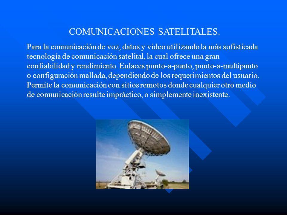 COMUNICACIONES SATELITALES. Para la comunicación de voz, datos y video utilizando la más sofisticada tecnología de comunicación satelital, la cual ofr