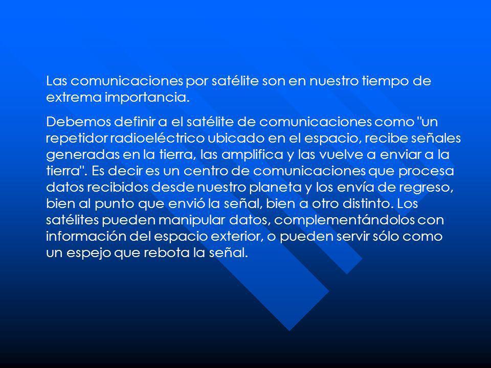Las comunicaciones por satélite son en nuestro tiempo de extrema importancia. Debemos definir a el satélite de comunicaciones como