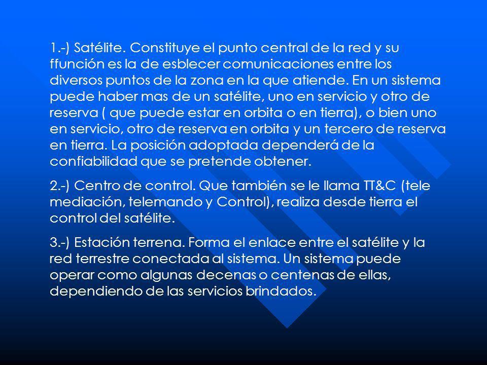 1.-) Satélite. Constituye el punto central de la red y su ffunción es la de esblecer comunicaciones entre los diversos puntos de la zona en la que ati