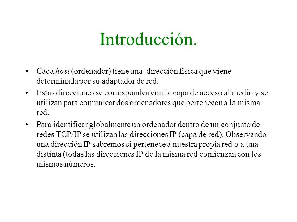 Introducción. Cada host (ordenador) tiene una dirección física que viene determinada por su adaptador de red. Estas direcciones se corresponden con la