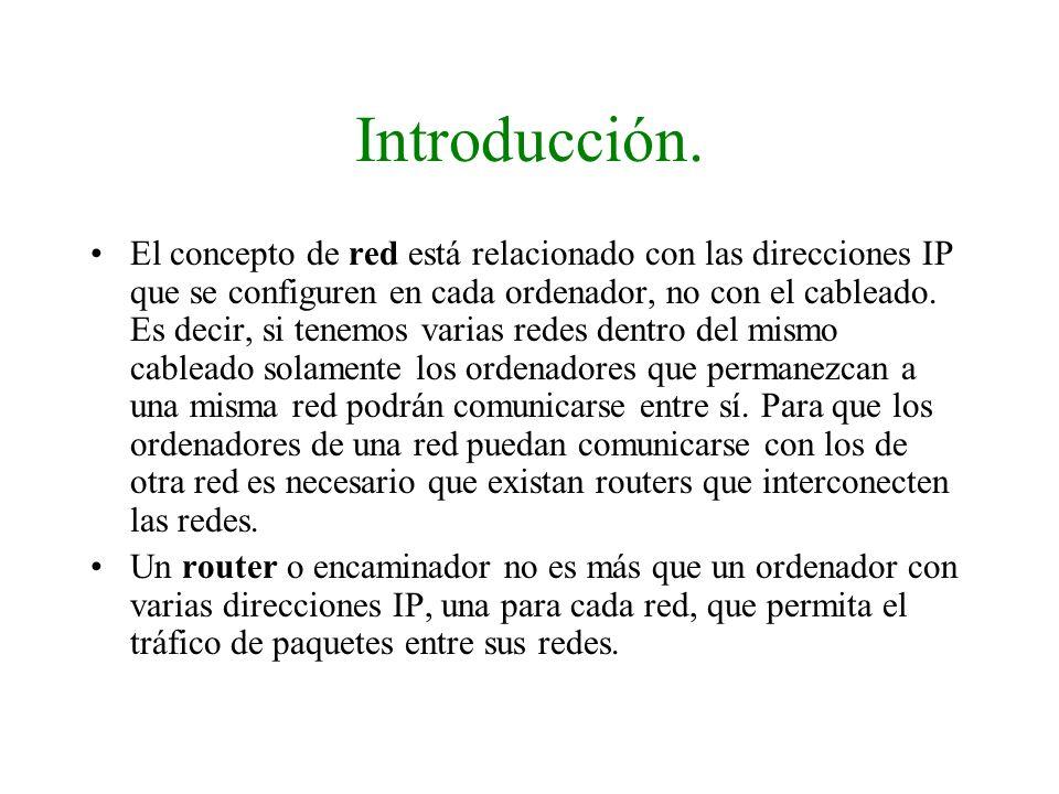 Introducción. El concepto de red está relacionado con las direcciones IP que se configuren en cada ordenador, no con el cableado. Es decir, si tenemos