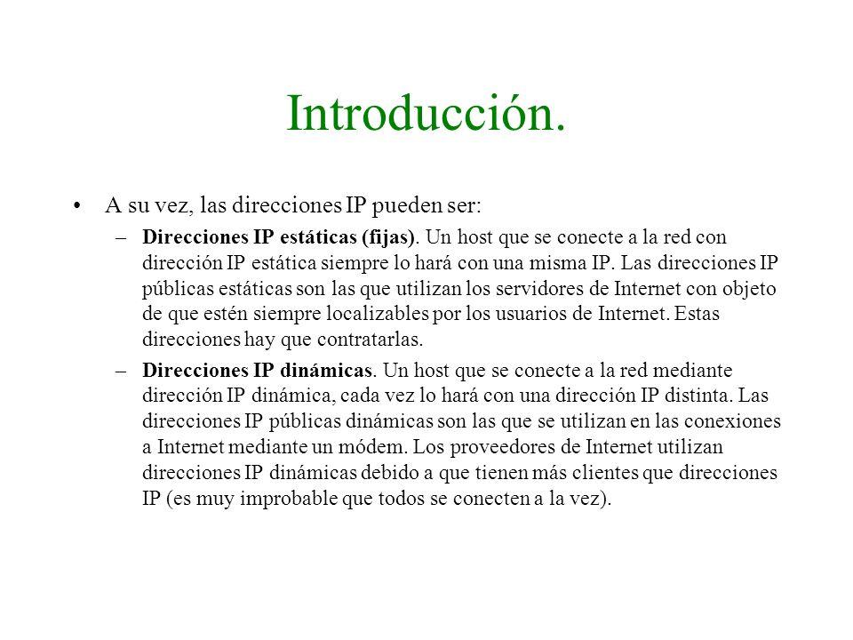 Introducción. A su vez, las direcciones IP pueden ser: –Direcciones IP estáticas (fijas). Un host que se conecte a la red con dirección IP estática si