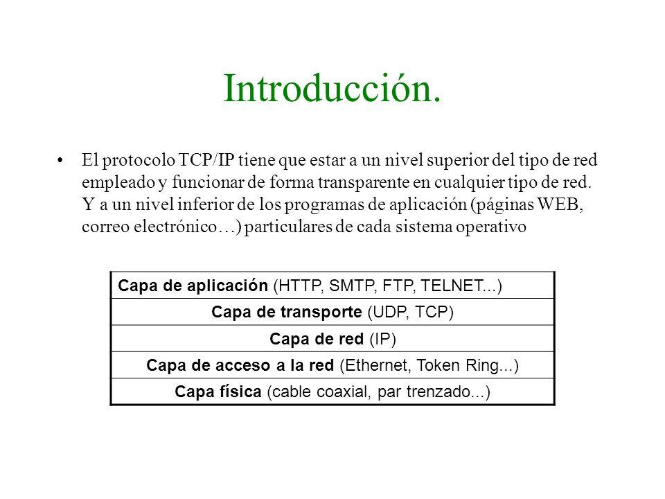 Introducción. El protocolo TCP/IP tiene que estar a un nivel superior del tipo de red empleado y funcionar de forma transparente en cualquier tipo de