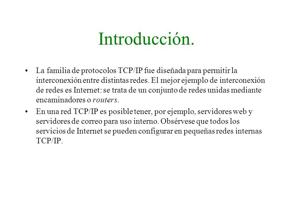 Introducción. La familia de protocolos TCP/IP fue diseñada para permitir la interconexión entre distintas redes. El mejor ejemplo de interconexión de