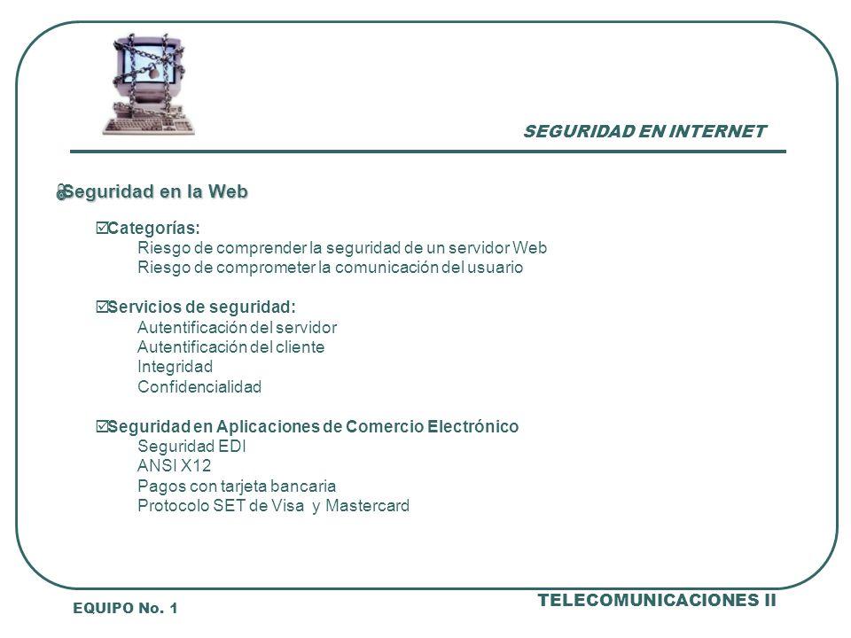 SEGURIDAD EN INTERNET EQUIPO No.