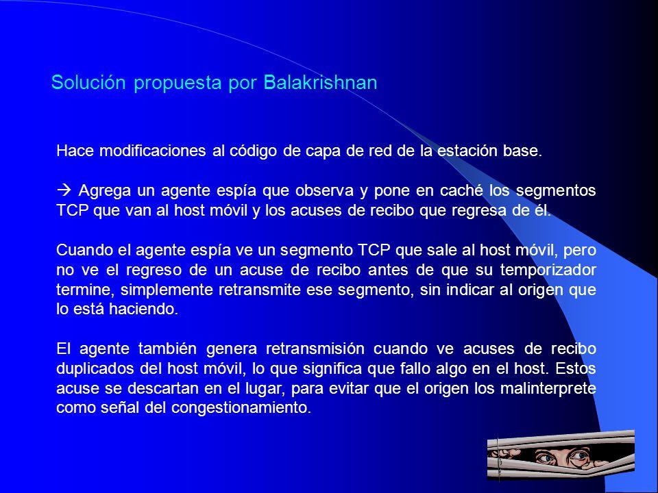 Solución propuesta por Balakrishnan Hace modificaciones al código de capa de red de la estación base. Agrega un agente espía que observa y pone en cac
