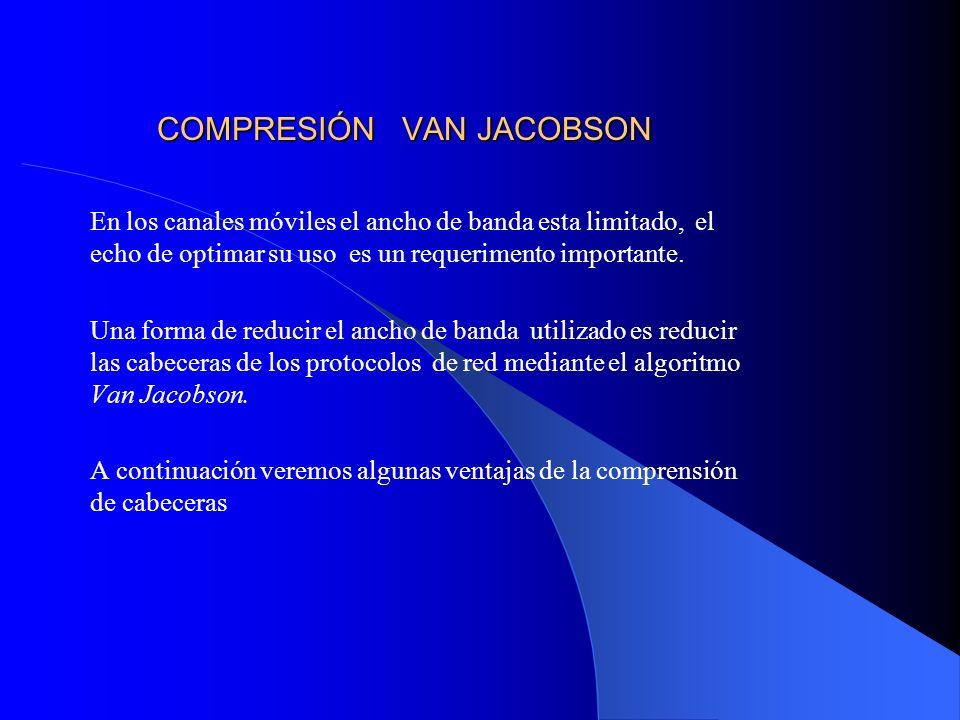 COMPRESIÓN VAN JACOBSON En los canales móviles el ancho de banda esta limitado, el echo de optimar su uso es un requerimento importante.