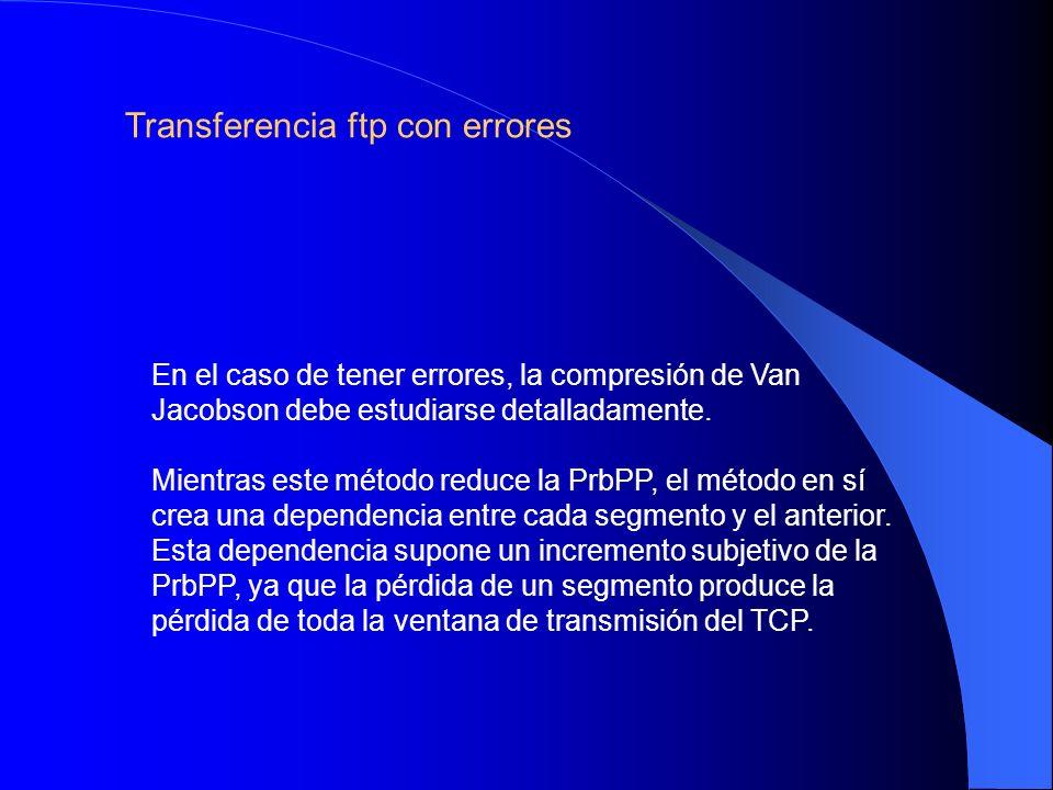 Transferencia ftp con errores En el caso de tener errores, la compresión de Van Jacobson debe estudiarse detalladamente. Mientras este método reduce l