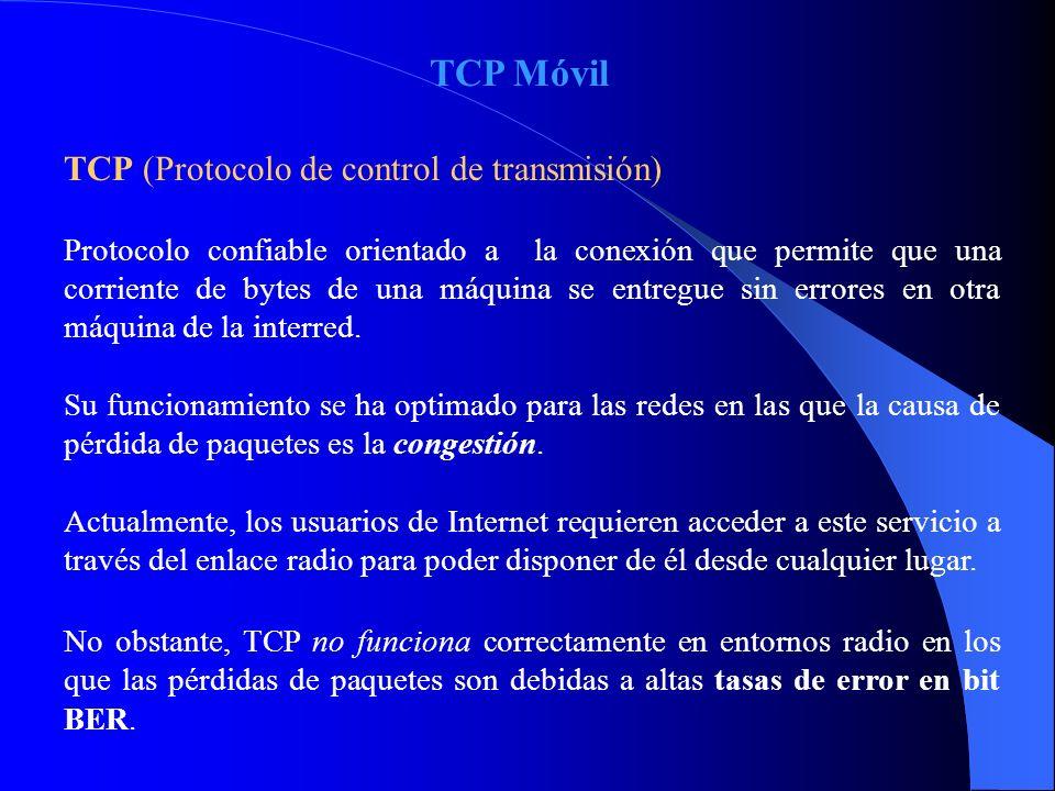TCP Móvil TCP (Protocolo de control de transmisión) Protocolo confiable orientado a la conexión que permite que una corriente de bytes de una máquina se entregue sin errores en otra máquina de la interred.