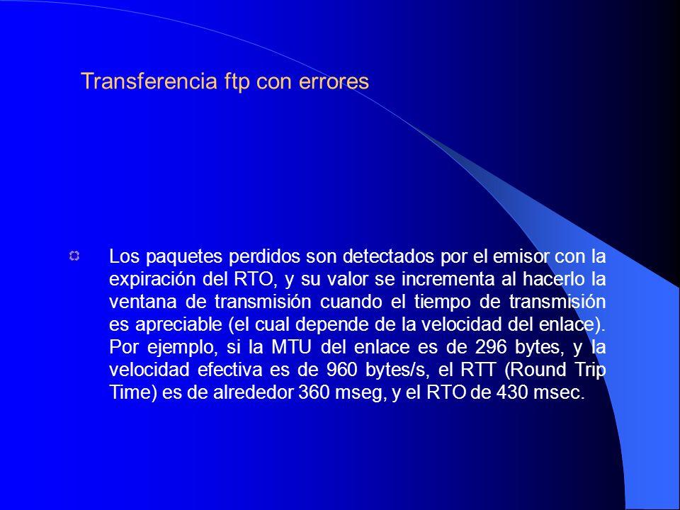 Los paquetes perdidos son detectados por el emisor con la expiración del RTO, y su valor se incrementa al hacerlo la ventana de transmisión cuando el tiempo de transmisión es apreciable (el cual depende de la velocidad del enlace).
