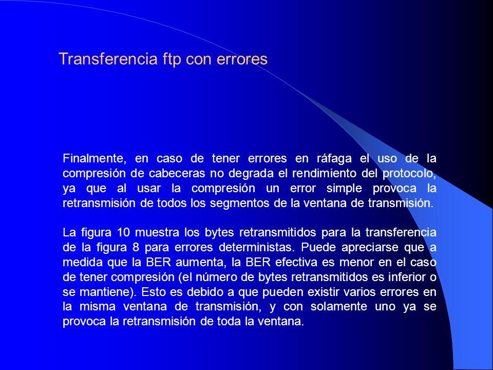 Finalmente, en caso de tener errores en ráfaga el uso de la compresión de cabeceras no degrada el rendimiento del protocolo, ya que al usar la compresión un error simple provoca la retransmisión de todos los segmentos de la ventana de transmisión.