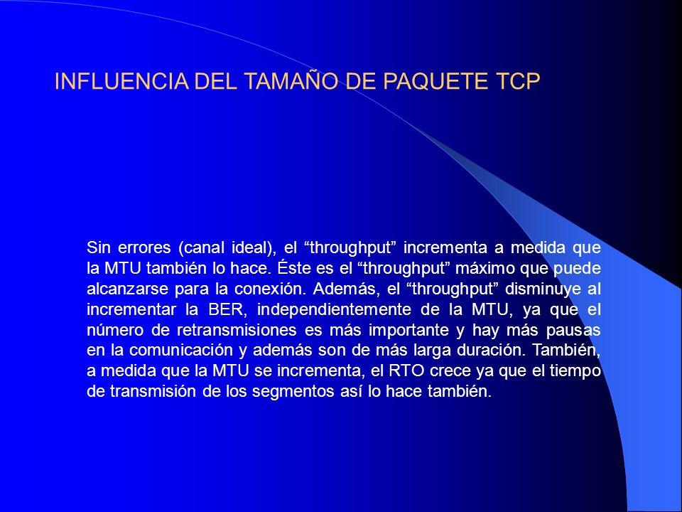 Sin errores (canal ideal), el throughput incrementa a medida que la MTU también lo hace.