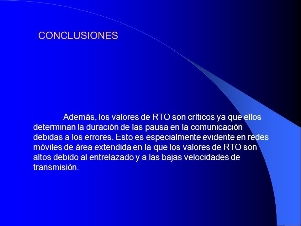 CONCLUSIONES Además, los valores de RTO son críticos ya que ellos determinan la duración de las pausa en la comunicación debidas a los errores. Esto e