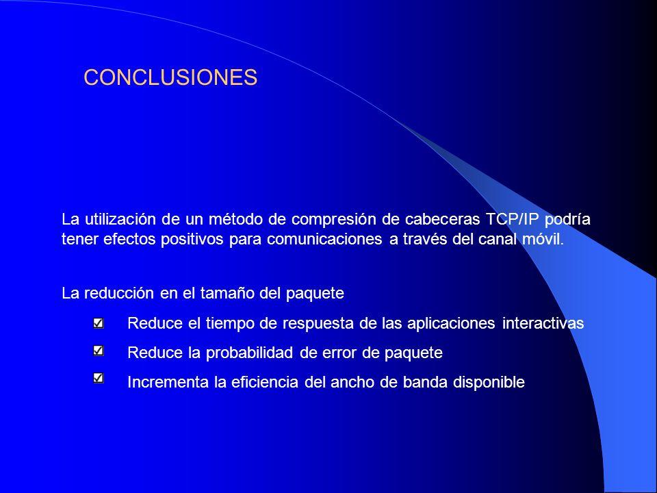 La utilización de un método de compresión de cabeceras TCP/IP podría tener efectos positivos para comunicaciones a través del canal móvil. La reducció