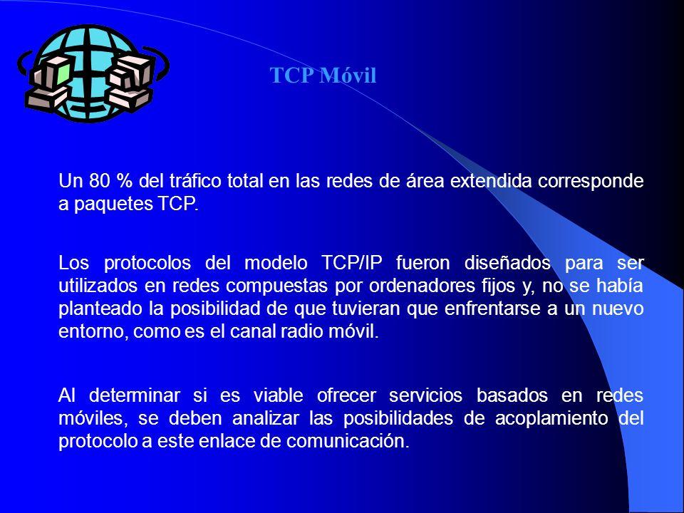 Un 80 % del tráfico total en las redes de área extendida corresponde a paquetes TCP. Los protocolos del modelo TCP/IP fueron diseñados para ser utiliz