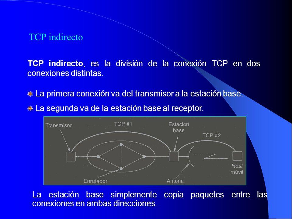 TCP indirecto, es la división de la conexión TCP en dos conexiones distintas. La primera conexión va del transmisor a la estación base. La segunda va