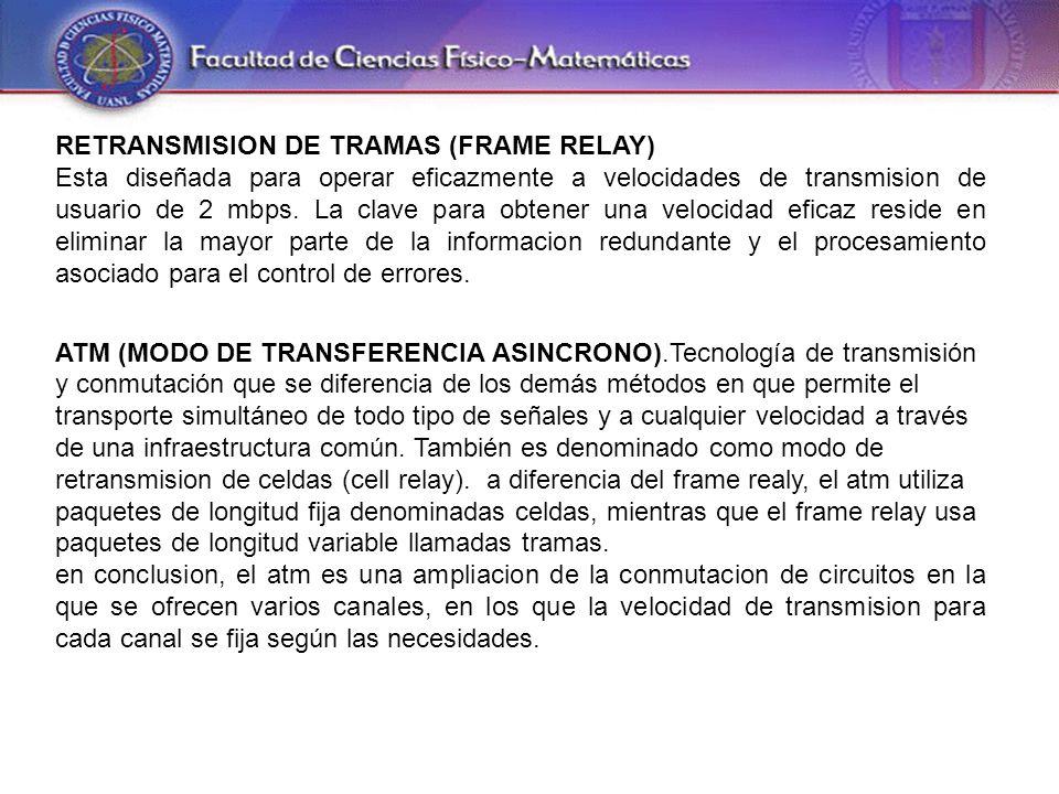 RETRANSMISION DE TRAMAS (FRAME RELAY) Esta diseñada para operar eficazmente a velocidades de transmision de usuario de 2 mbps.