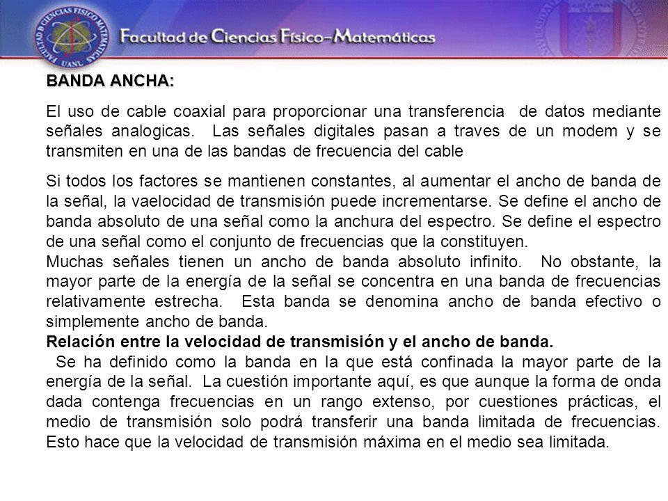 BANDA ANCHA: El uso de cable coaxial para proporcionar una transferencia de datos mediante señales analogicas.