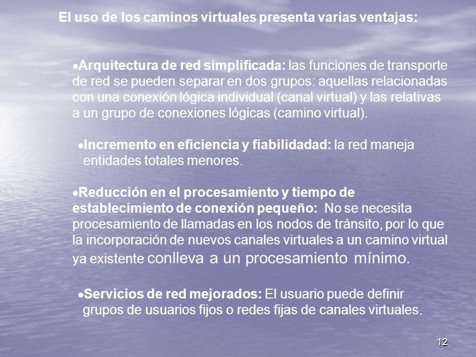 12 El uso de los caminos virtuales presenta varias ventajas: Arquitectura de red simplificada: las funciones de transporte de red se pueden separar en