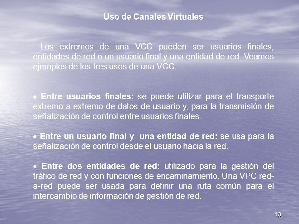 13 Uso de Canales Virtuales Los extremos de una VCC pueden ser usuarios finales, entidades de red o un usuario final y una entidad de red. Veamos ejem
