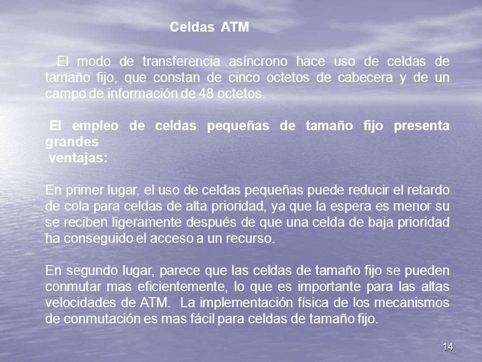 14 Celdas ATM El modo de transferencia asíncrono hace uso de celdas de tamaño fijo, que constan de cinco octetos de cabecera y de un campo de informac
