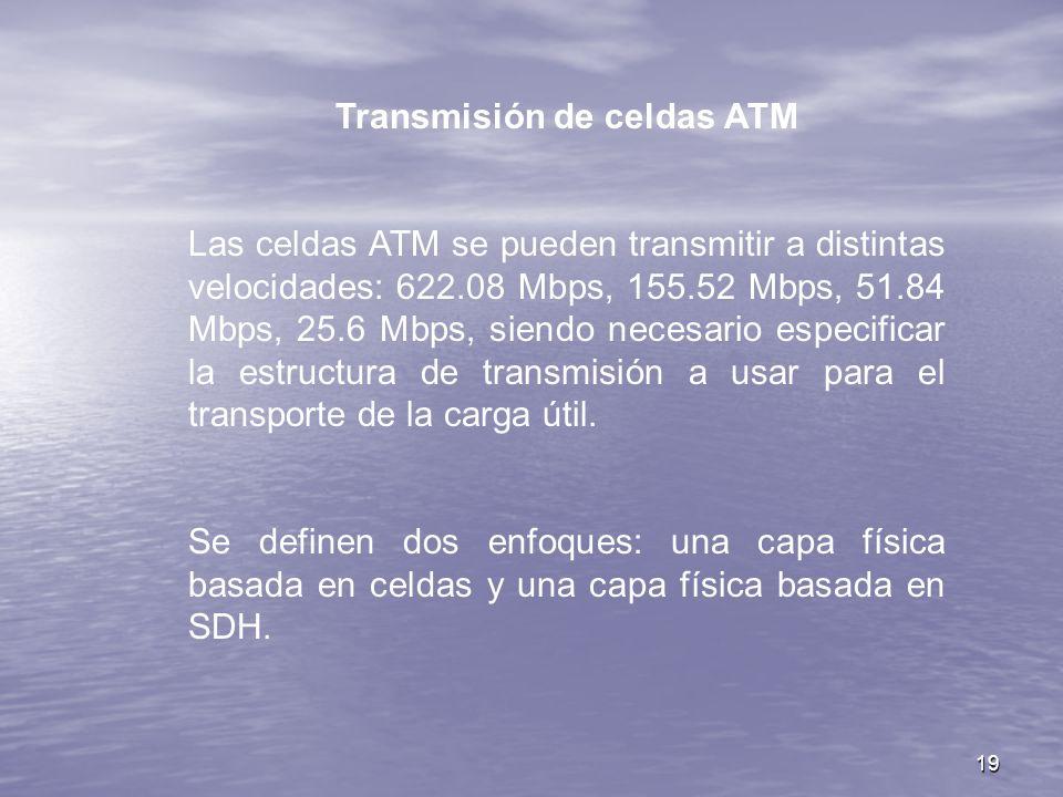 19 Transmisión de celdas ATM Las celdas ATM se pueden transmitir a distintas velocidades: 622.08 Mbps, 155.52 Mbps, 51.84 Mbps, 25.6 Mbps, siendo nece