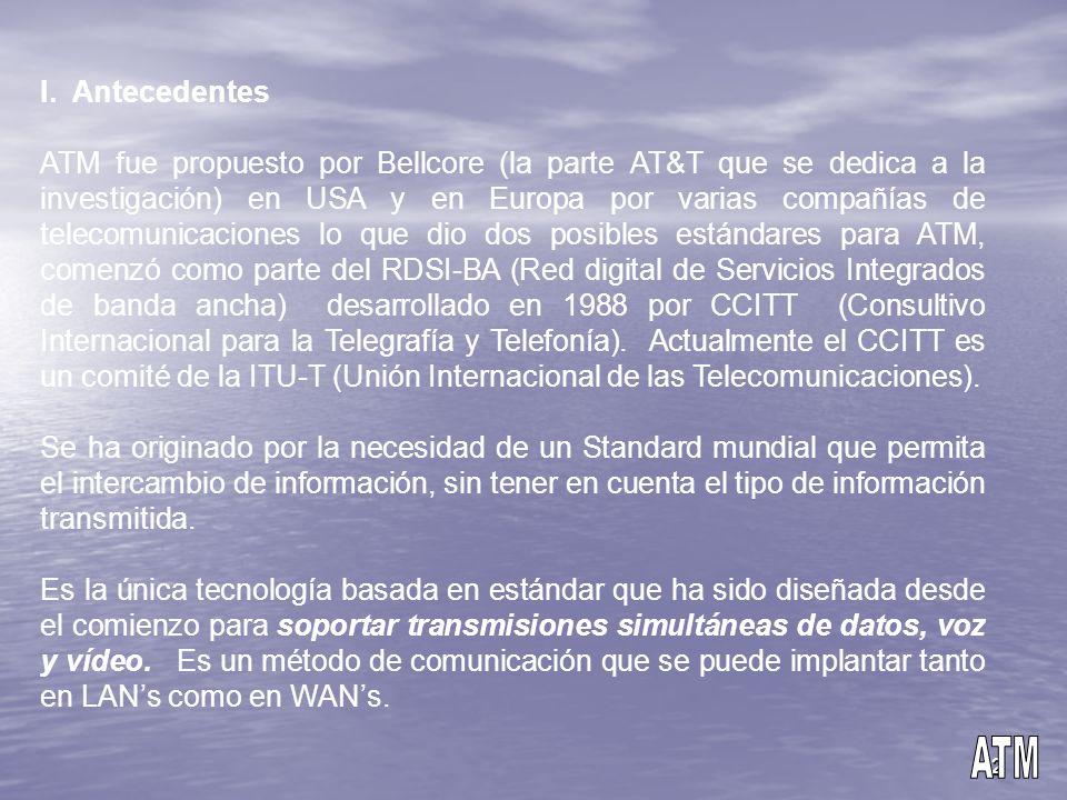 2 I. Antecedentes ATM fue propuesto por Bellcore (la parte AT&T que se dedica a la investigación) en USA y en Europa por varias compañías de telecomun