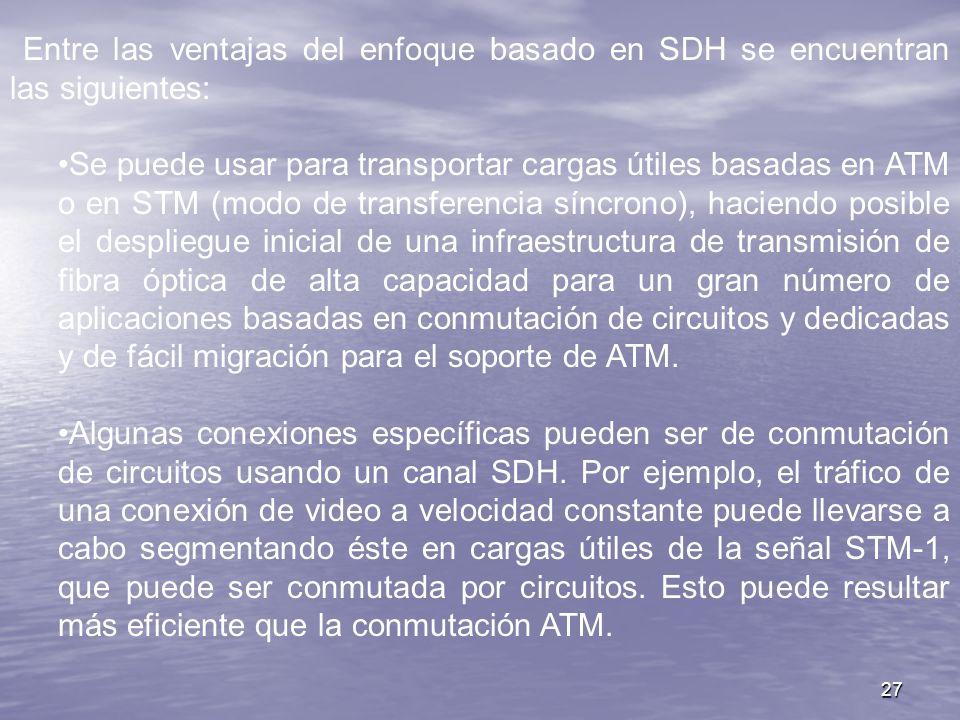 27 Entre las ventajas del enfoque basado en SDH se encuentran las siguientes: Se puede usar para transportar cargas útiles basadas en ATM o en STM (mo
