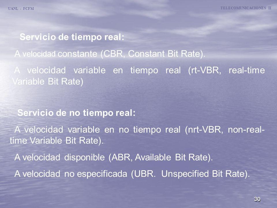 30 UANL - FCFM TELECOMUNICACIONES II Servicio de no tiempo real: A velocidad variable en no tiempo real (nrt-VBR, non-real- time Variable Bit Rate). A