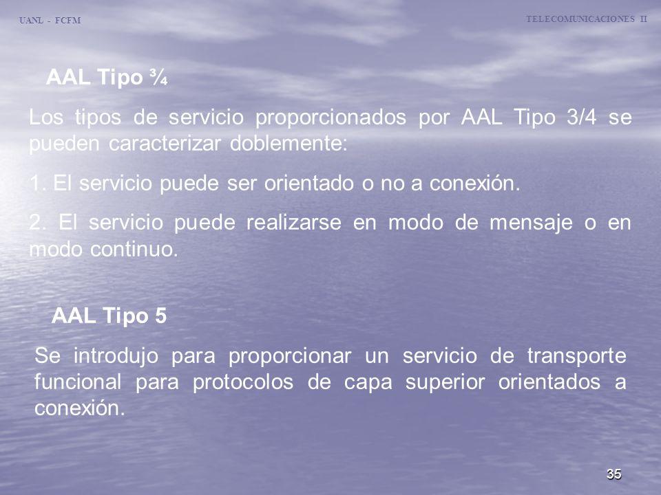 35 TELECOMUNICACIONES II UANL - FCFM AAL Tipo ¾ Los tipos de servicio proporcionados por AAL Tipo 3/4 se pueden caracterizar doblemente: 1. El servici