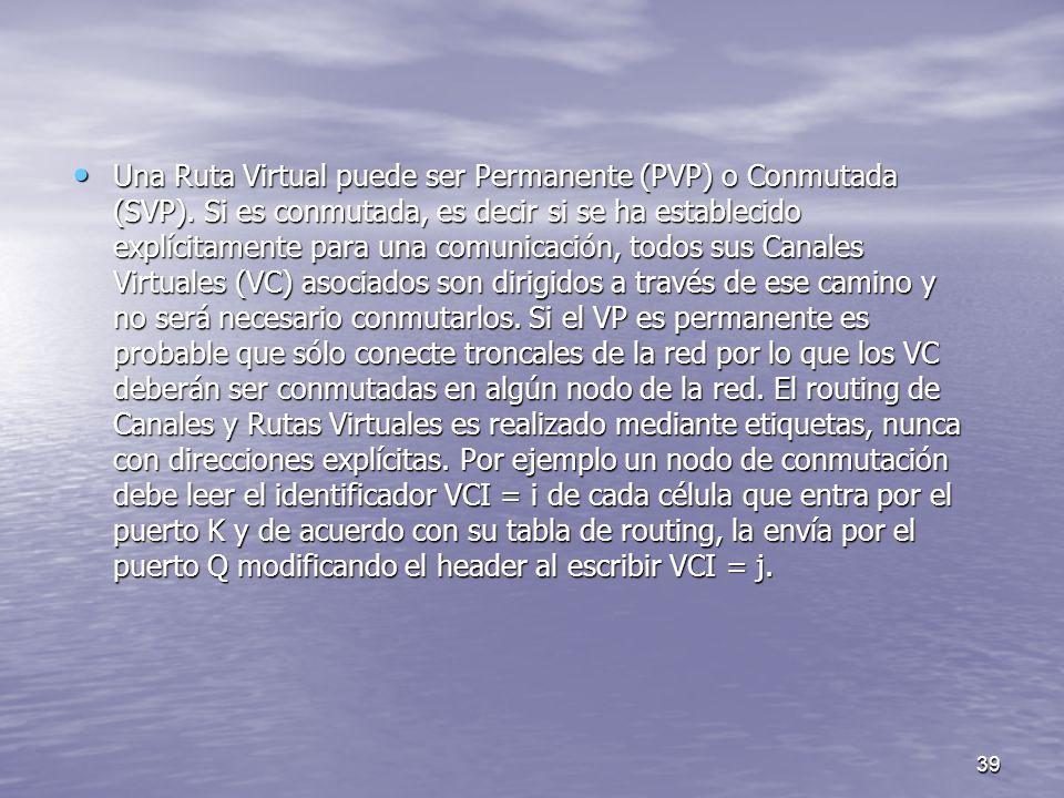 39 Una Ruta Virtual puede ser Permanente (PVP) o Conmutada (SVP). Si es conmutada, es decir si se ha establecido explícitamente para una comunicación,