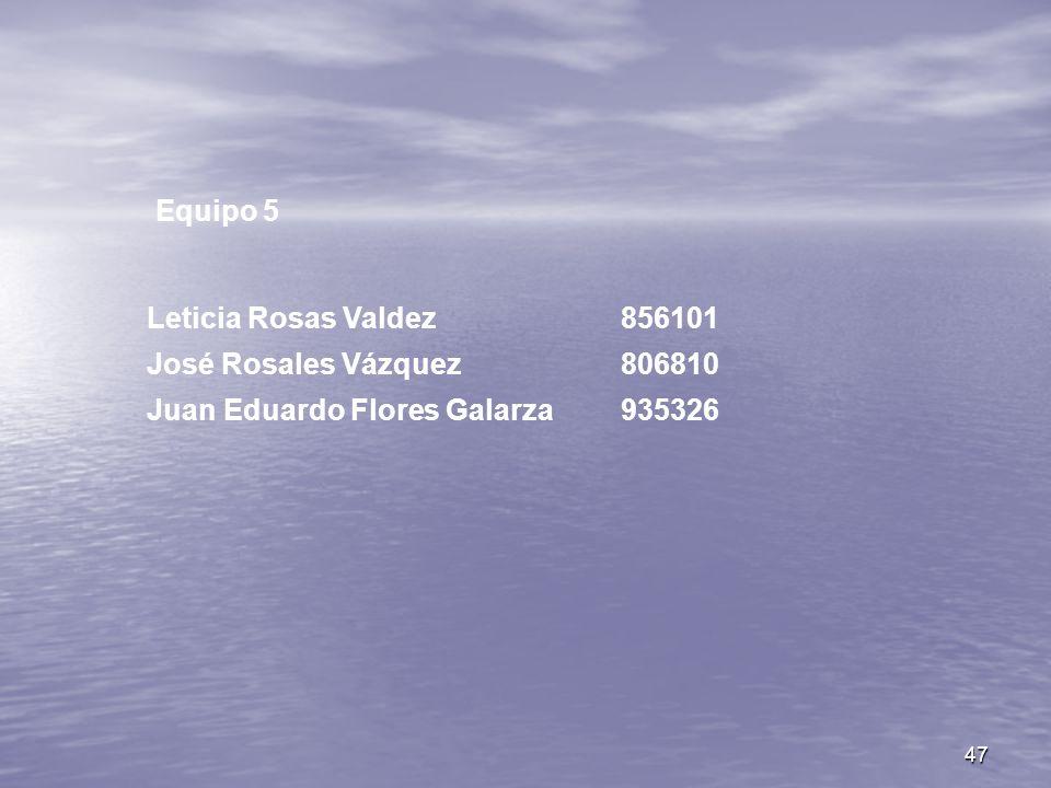 47 Equipo 5 Leticia Rosas Valdez856101 José Rosales Vázquez806810 Juan Eduardo Flores Galarza935326