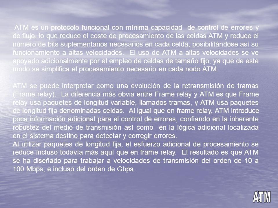 5 ATM es un protocolo funcional con mínima capacidad de control de errores y de flujo, lo que reduce el coste de procesamiento de las celdas ATM y red