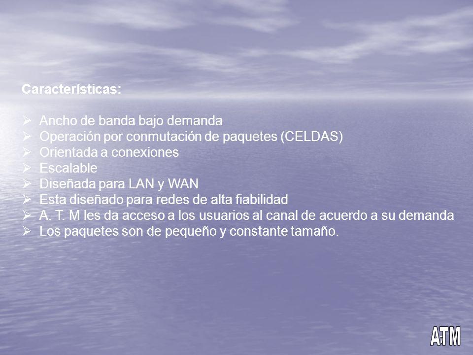 7 Características: Ancho de banda bajo demanda Operación por conmutación de paquetes (CELDAS) Orientada a conexiones Escalable Diseñada para LAN y WAN