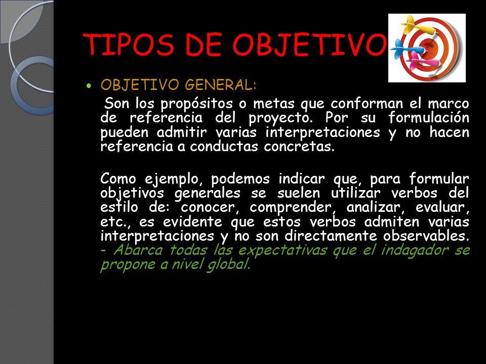 TIPOS DE OBJETIVO OBJETIVO GENERAL: Son los propósitos o metas que conforman el marco de referencia del proyecto.