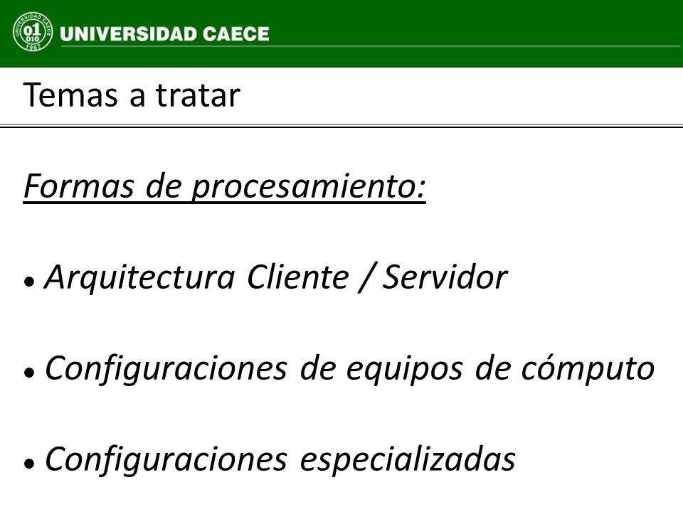 Temas a tratar Formas de procesamiento: Arquitectura Cliente / Servidor Configuraciones de equipos de cómputo Configuraciones especializadas