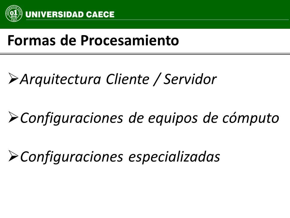 Formas de Procesamiento Arquitectura Cliente / Servidor Configuraciones de equipos de cómputo Configuraciones especializadas