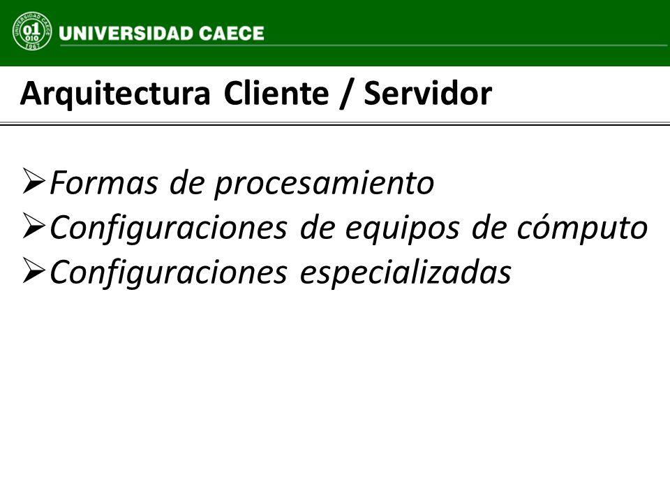 Configuraciones especializadas Formas de procesamiento Arquitectura Cliente / Servidor Configuraciones especializadas