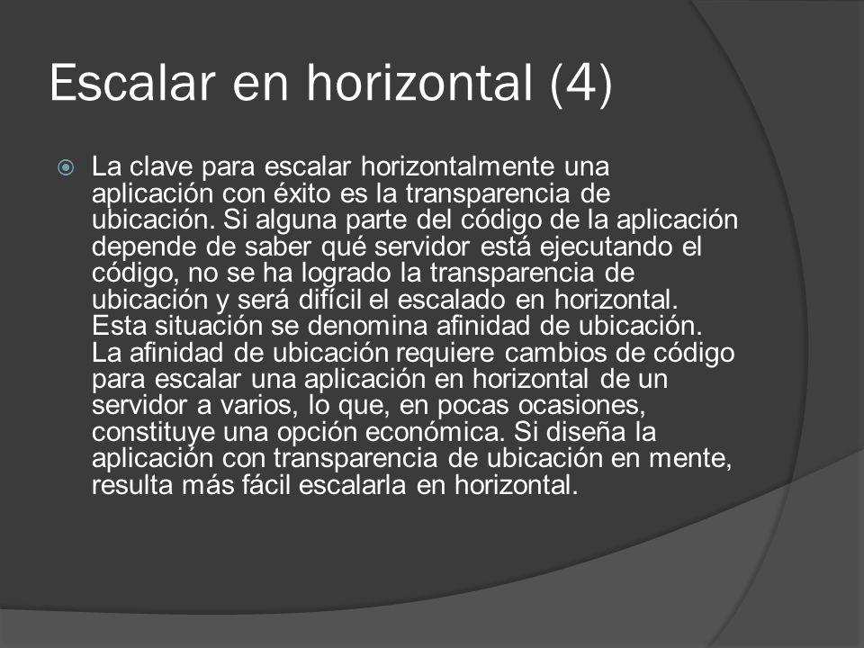 Escalar en horizontal (4) La clave para escalar horizontalmente una aplicación con éxito es la transparencia de ubicación. Si alguna parte del código