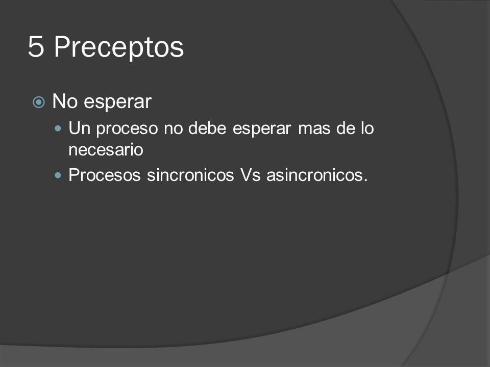 5 Preceptos No esperar Un proceso no debe esperar mas de lo necesario Procesos sincronicos Vs asincronicos.