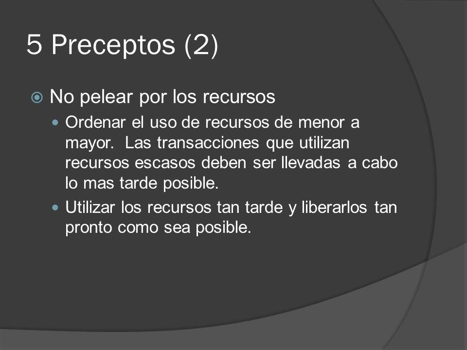 5 Preceptos (2) No pelear por los recursos Ordenar el uso de recursos de menor a mayor. Las transacciones que utilizan recursos escasos deben ser llev
